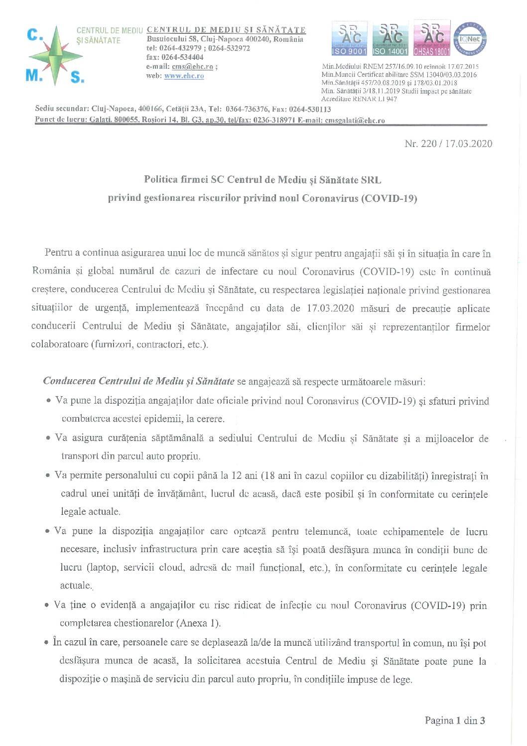 (Română) Politica Firmei SC Centrul de Mediu si Sanatate SRL privind gestionarea riscurilor privind noul Coronavirus (COVID-19)